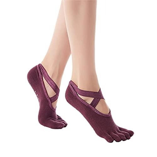 Musolaree - Calcetines de yoga antideslizantes para mujer y niña, con asas para barra de ballet, fitness, danza rojo 36