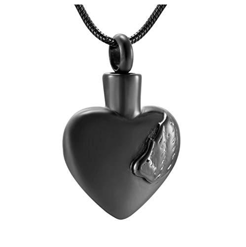 Wxcvz Collar para Cenizas 25Mm ala De Ángel De Acero Inoxidable Y Joyería De Cremación De Corazón para Mascotas Memorial Urn Collar Colgante para Cenizas