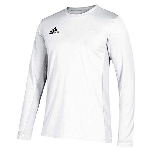 adidas Male Team 19 Long Sleeve Jersey , White , L
