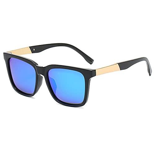 Gosunfly Gafas de sol gafas de sol polarizadas para hombre caja cuadrada clásica espejo de tinta gafas de sol para mujer-Lente polarizada_Marco negro