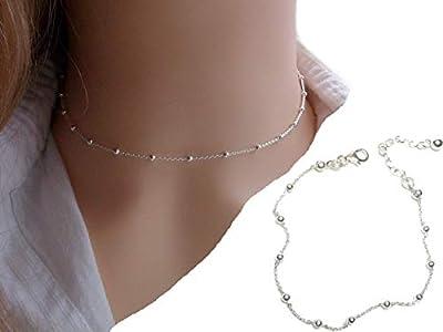 Ensemble collier et bracelet en argent 925 - parure bijoux chaine perlée - chaine satellite - collier fin - bracelet élégant - cadeau parfait femme fille
