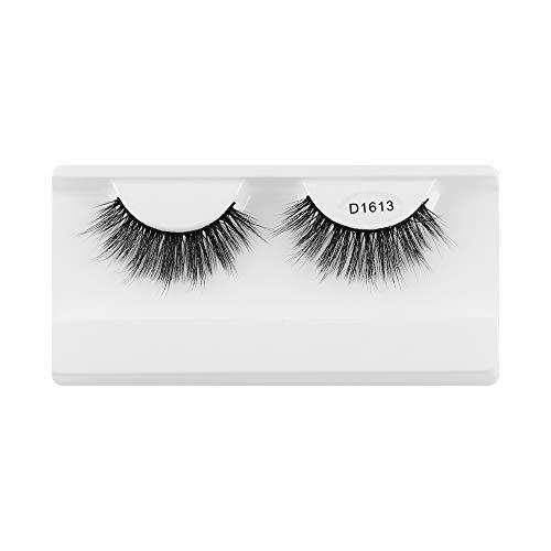 SKONHED 1 Pair Weibliche Mode Klugscheißer Natürliche Handarbeit Rundlauf lang Falsche Augenbrauen Erweiterung der Augenlast 3D Faux Mink Hair(D1613)