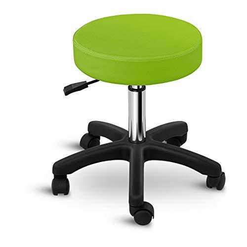 Physa Rollhocker Drehstuhl Arbeitshocker Drehhocker Aversa Green (grün, Gestell: polierter Stahl, Sitz: PVC und Schaumstoff, Sitzhöhe: 45-58 cm, belastbar bis 150 kg)