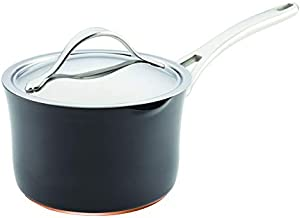 Anolon 83527 Nouvelle Copper Hard Anodized Nonstick Sauce Pan/Saucepan with Straining and Lid, 3.5 Quart, Gray