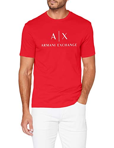 ARMANI EXCHANGE Classic Crew Logo Tee T-Shirt, Absolute Red, L Uomo