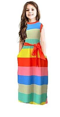 Miss Bei Girl Sleeveless Print Round Neck Sleeveless Boho Long Maxi Party Dresses Sleeveless-strpie oragnge140