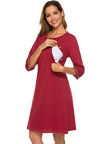 FINWANLO Womens Maternity Nursing Nightgown 3/4 Sleeve Breastfeeding Nightdress Sleepwear