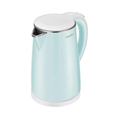 COMFEE' Electric Kettle Teapot 1.7 Liter Fast Water Heater Boiler 1500W BPA-Free, Quiet Boil & Cool Touch Series, Auto Shut-Off and Boil Dry Protection, 1.7L, Mint Green