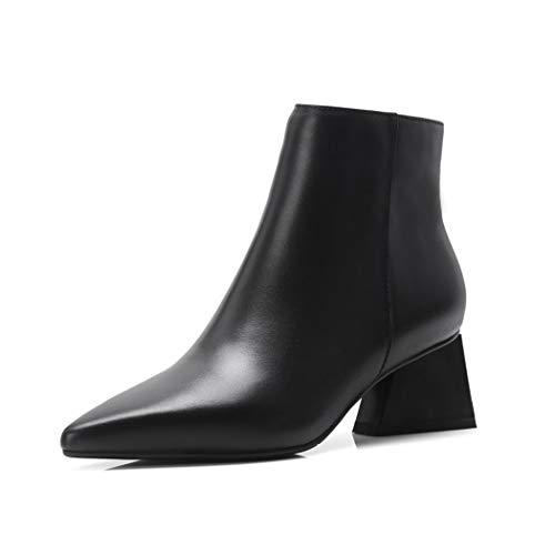 SWEAAY Boots Damenleder Dick Mit Stiefeletten Schlichte Mode Spitze Mittlere Ferse Seitlicher...