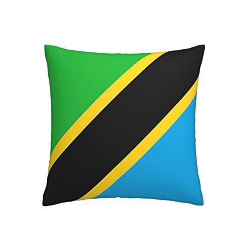 Kissenbezug mit Flagge von Tansania, quadratisch, dekorativer Kissenbezug für Sofa, Couch, Zuhause, Schlafzimmer, drinnen & draußen, niedlicher Kissenbezug 45,7 x 45,7 cm