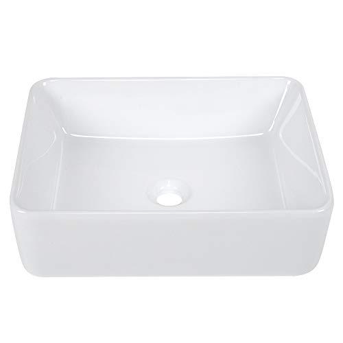 FTVOGUE- Lavabo en Forme Rectangle Céramique Blanc Lave-Mains Vasque Salle de Bain Vasque à Poser Évier pour Salle de Bain Toilettes 48,5 x 37 x 14 cm