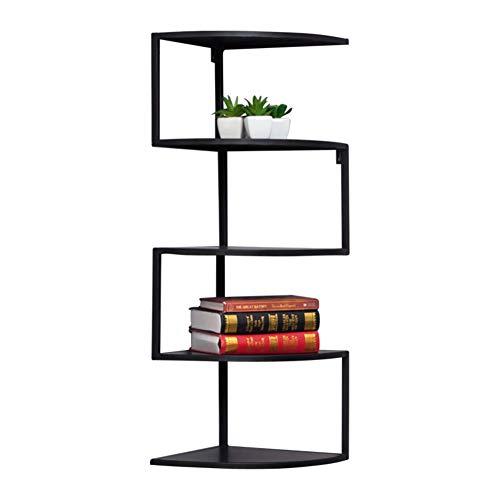 L&T Soporte de esquina de metal para pared, estantes flotantes para libros, plantas de 7 niveles, estantería de almacenamiento para habitación infantil, 5 niveles, color negro