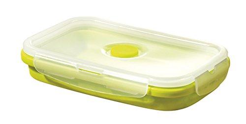 Esmeyer Ethan, faltbar, aus 100% Silikon, grüne Dose mit transparentem Deckel aus PP Kunststoff Lunchbox, 20 x 12.6 x 3 cm
