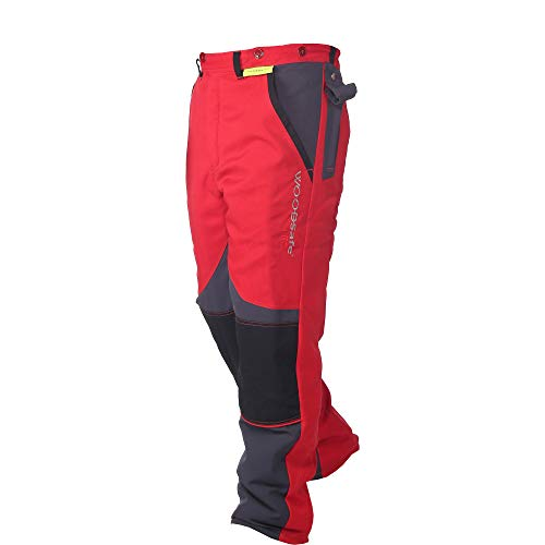 WOODSafe Schnittschutzhose Klasse 2, Forsthose, kwf-geprüft, Bundhose rot/grau, Herren - Waldarbeiterhose mit Schnittschutz Form A, leichtes Gewicht (56)