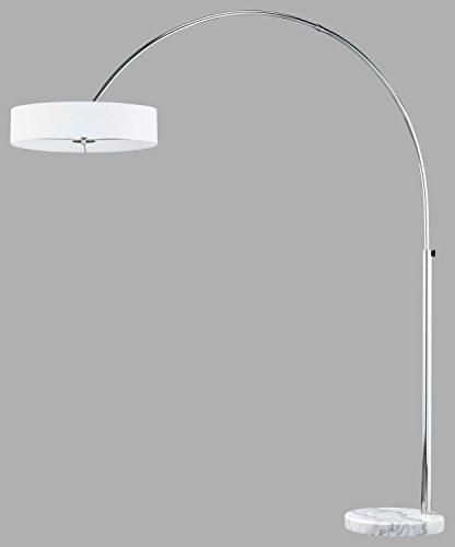 TRIO, Lampadaire, Perez 3xE27, max.60,0 W Tissu, Blanc, Corps: metal, Chrome L:50,0cm, H:200,0cm, P:170,0cm IP20,Interrupteur pied,Hauteur réglable