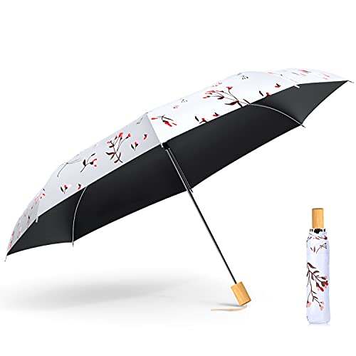 【2021最新版】 日傘 折りたたみ傘 軽量 8本骨 UVカット 遮光 晴雨兼用 耐風撥水 紫外線遮断 折り畳み傘 おしゃれ レディース 収納ポーチ付き