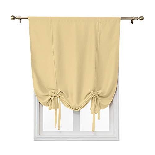 Cortinas para ventana, 1 panel de barra, cortinas cortas, de color sólido, cortinas romanas para interiores, cortinas romanas para balcón, dormitorio, sala de estar, cocina (beige, 120 x 120 cm)