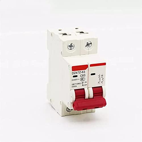 LUOXUEFEI Disyuntor Diferencial Interruptor Disyuntor 2P Dc 12V 550V 6A 10A 16A 20A 25A 32A 40A 50A 63A Dc