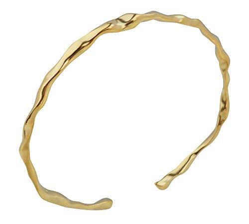 aBALENT(アバレント)バングル メンズ シルバー ゴールド シンプル シルバー925 くねくね 上品 ねじり ツイスト メンズ レディース ブレスレット バングル 腕輪 シルバーアクセサリー (ゴールド)