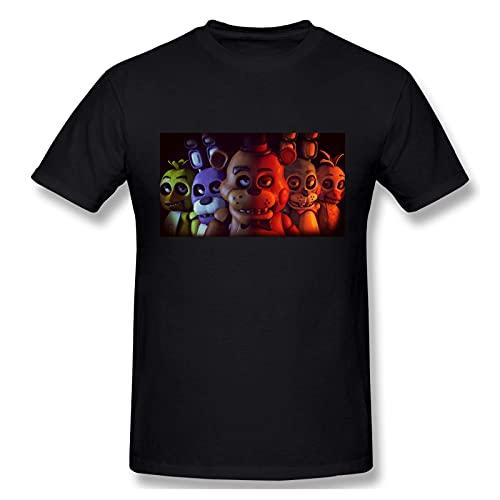 Five Nights at Freddy'S T Shirt Men's Fashion Cotton Crew Neck Short Sleeve Graphic Tees Casual Summer tee Tops Black Camisetas y Tops(Medium)