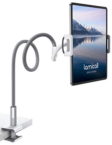 Lamicall Soporte Tablet, Multiángulo Soporte Tablet - Soporte con Cuello de Cisne para 2020 iPad Pro 10.5, 9.7, iPad Mini 2 3 4, iPad Air, Air 2, iPhone, Samsung Tab, Switch, Otras Tablets - Gris