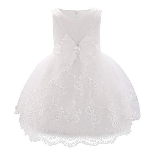 FONLAM Baby Mädchen Prinzessin Kleid Mädchen bestickte Tüll Blumenkleider Hochzeit Taufkleid Prinzessin ärmellose Kleider Tüll Party Lässige Outfits Kleidung (Weiß, 6-12 Monate)