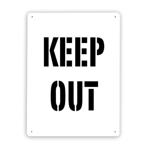 Señal de advertencia,Manténgase fuera de la plantilla para suelos y pavimentos Keep Out,Señal de advertencia de tráfico de pintura de decoración de metal de aluminio de estaño 8x12 Inch