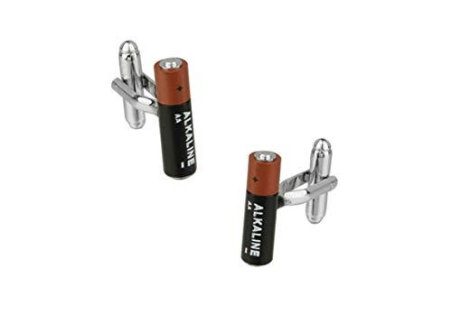 Daesar 2 Pcs Manschettenknopf Silber Batterie Edelstahl Hochzeit Manschettenknöpfe Herren mit Geschenk Box