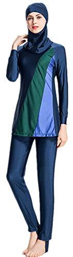costume da bagno donna araba EOTCT Costumi da Bagno Musulmani Taglie Forti per Le Donne Costumi da Bagno Arabi Islamici Modesti Burkini Hijab Costumi da Bagno (Blue
