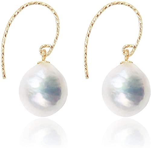 Pendientes de perlas para mujer de 10 a 11 mm, pendientes de perlas barrocas naturales, oro de 14 quilates relleno de gota de oro de la señora regalo