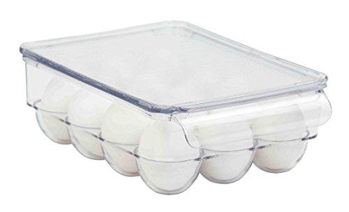 Home Basics stapelbar Ei Halterung für Kühlschrank, transparent 12 Egg Holder farblos