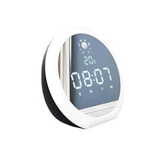 Altavoz de Bluetooth inalámbrico multifuncional, diseño de espejo de bajos potente, diseño de luz de noche, diseño de reloj despertador, duración de la batería súper, reproducción de tarjetas de sopor