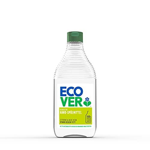 Ecover Hand-Spülmittel Zitrone & Aloe Vera (450 ml), nachhaltiges Spülmittel mit Zuckertensiden, kraftvoller Fettlöser,...
