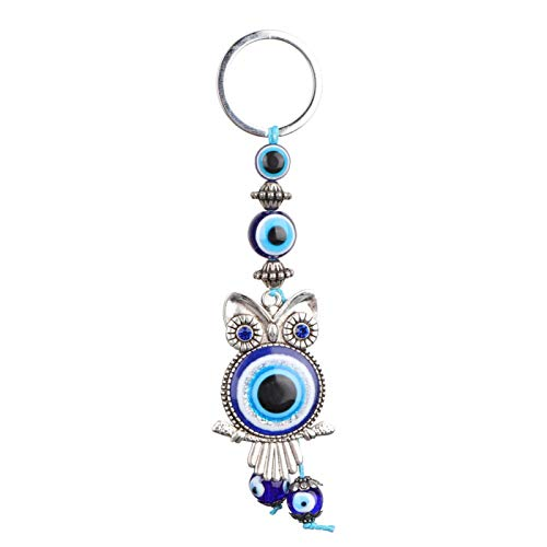 Oumefar Llavero de búho de Ojo Malvado Llavero de búho de Ojo Malvado Azul Amuleto de Cristal Turco para Amigos Familia