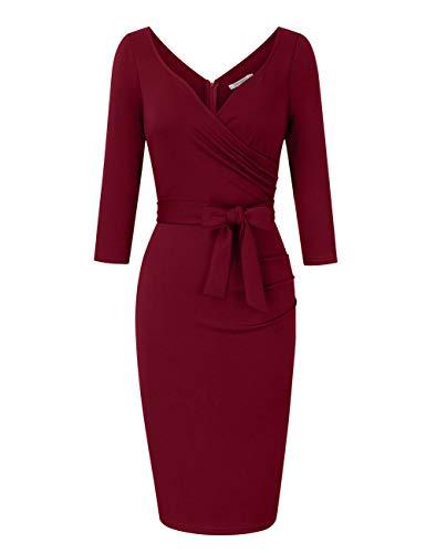 KOJOOIN Damen Elegant Etuikleid Festliche Abendkleider Cocktailkleid Knielang Business Kleider Weinrot (Langarm) 【EU 38-40】/M