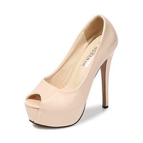 Phorecys Women's Peep Toe 14CM Stilettos Round Platform Pumps Dress Party Slip On Sandals