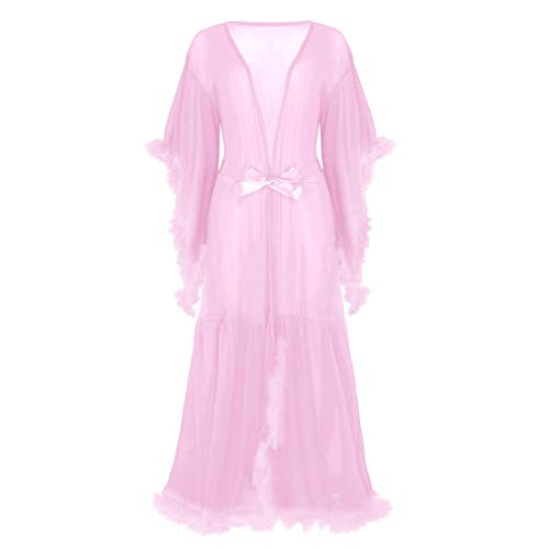 inlzdz Women's Flare Sleeves Feather Bridal Robe Nightgown Tulle Illusion Long Wedding Scarf Lavender Pink One Size