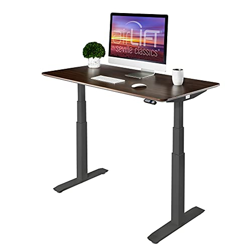Seville Classics AIRLIFT Pro S3 54' Solid-Top Commercial-Grade Electric Adjustable Standing Desk (51.4' Max Height) Table - Black/Walnut