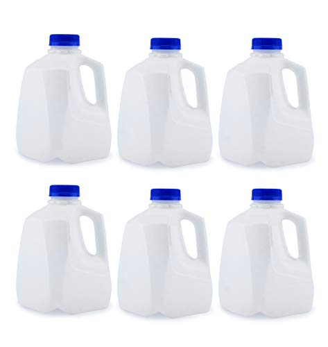 Cornucopia 32-Ounce Plastic Jugs (6-Pack); 1-Quart Bottles with Caps for Juice, Water, Sports and Protein Drinks and Milk, BPA-Free