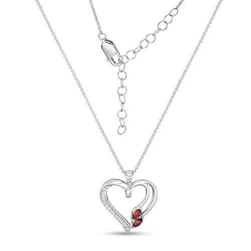 Colgante de corazón de diamante transparente de 0,25 quilates para mujer, cadena de 45,72 cm en plata de ley 925, 5 x 2,5 mm