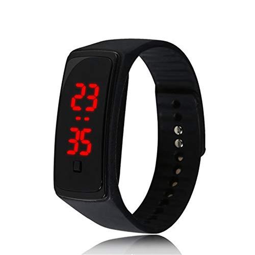 Reloj de Pulsera de Silicona LED Deportivo Digital Resistente al Agua para niños, niñas, Hombres, Mujeres, Reloj de Pulsera de Silicona Negro (batería incluida)