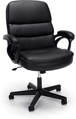 SuccessfulHome Ergonomic Office Chair,High Back Leather Executive Office Chair Desk Task Computer Chair W/Footrest, Home Office Chair Desk with Adjustable Reclining Angle, Black