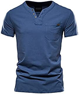 Wanxiaoyyyinnsdx Mens Henley Short Sleeve, Summer Top Quality Cotton T Shirt Men Solid Color Design V-neck T-shirt Casual ...
