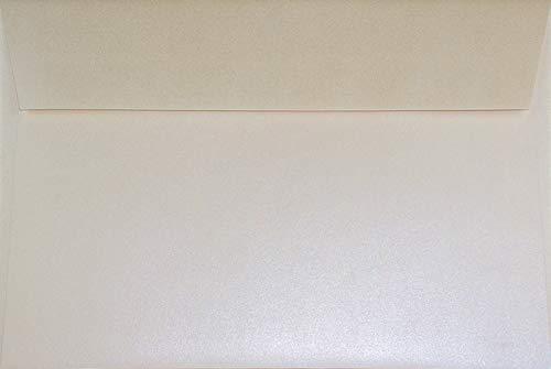 100 Perlmutt-Creme DIN C5 Briefumschläge 162x229 mm Sirio Pearl Oyster Shell Briefhüllen edel gerade Klappe Haftklebung Perlmutt-Glanz-Kuverts Ecru glänzend für Hochzeits-Einladungen Danksagungskarten
