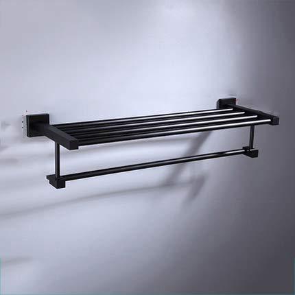 Mdsgfc Toallero doble de 55 cm, color negro mate, para colgar toallas de baño, accesorios de baño, toallero, toallero, toallero, toallero, toallero