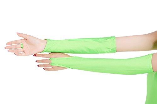 ツルツルニット 指ぬき ロンググローブ 超特大サイズ, 薄緑