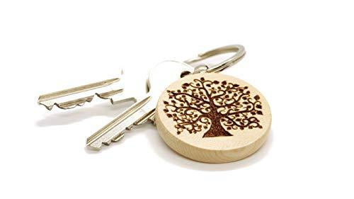 JaRo Lebensbaum Schlüsselanhänger rund aus Holz Gravur, wahlweise personalisiert mit Namen und Datum, Unisex Accessoire Geschenkidee Glücksbringer Weihnachten Geburtstag (mit Gravur)