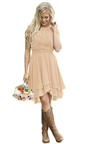 AlfaBridal Women's Country Bridesmaid Dresses Short Champagne Chiffon Wedding Guest Dress US10