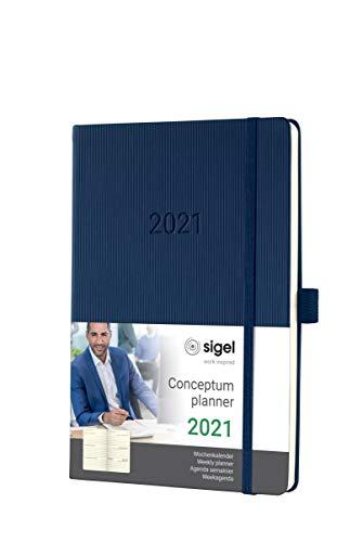 SIGEL C2162 Terminplaner Wochenkalender 2021, ca. A5, Hardcover, dunkelblau, mit vielen Extras, Conceptum - weitere Modelle