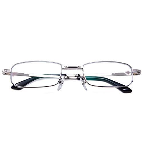 QKDSA leesbril, ultralichte PC-leesbril, inklapbare leesbril, bescherming tegen vermoeidheid, UV-bescherming +2.0X zilver